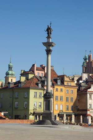 King Sigismund column (erected in 1644) on castle square, Warsaw, Poland photo
