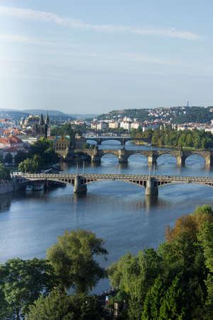 View of the Vltava River and bridges at sunrise, summer, Prague, the Czech Republic Stock Photo