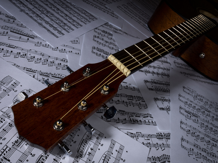 notation: Acoustic guitar lying on the sheets with musical notation