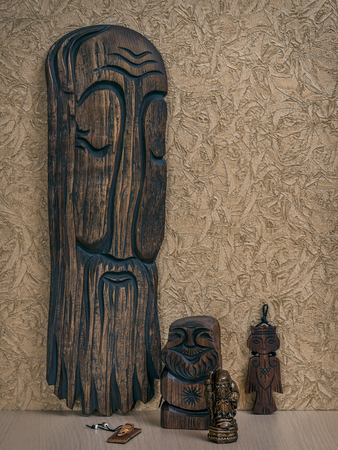 statuettes: Wooden statuettes of elders from Altai Republic Russia