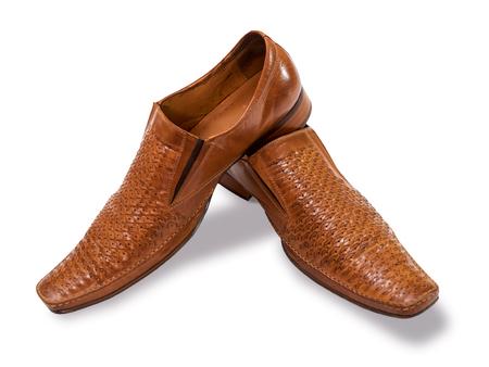 biege: Orange biege mens shoes on a white