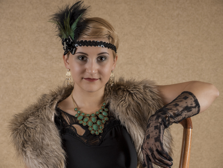 30s: The girl dressed in the fashion of Chicago 30s Stock Photo