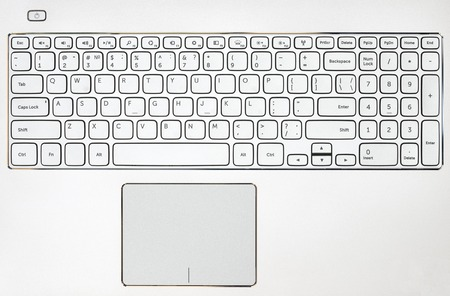 keyboard: Top view on the gray laptop keyboard