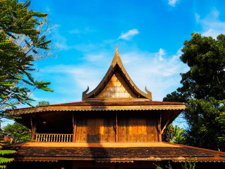 Wooden house in the garden in Thailand