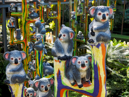 Figures of the koala in the summer park