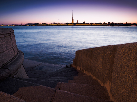 Peter and Paul Fortress at night. Season of white nights. Saint-Petersburg, Russia