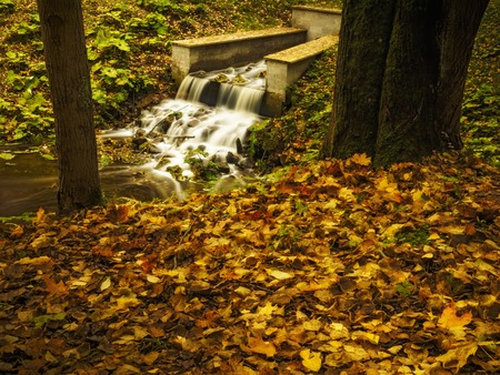 Artificial waterfall in an autumn park. Yellow leaves on the shores