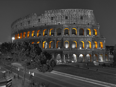 View at Roman Coliseum at night. Rome, Italy Stock Photo