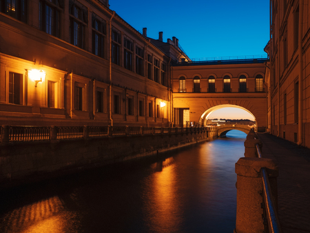 Night view of arch over the Winter canal. Saint-Petersburg, Russia