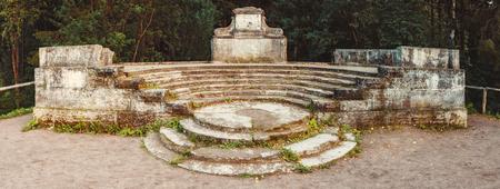 Amphitheater in the autumn park. Vintage toned. Saint-Petersburg, Russia