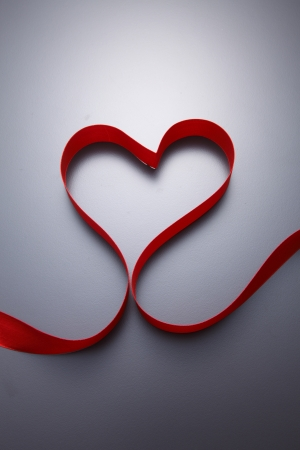 stock images of Heart shape made  from ribbon photo