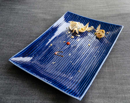 leftovers: Used dinner plate with leftovers Stock Photo