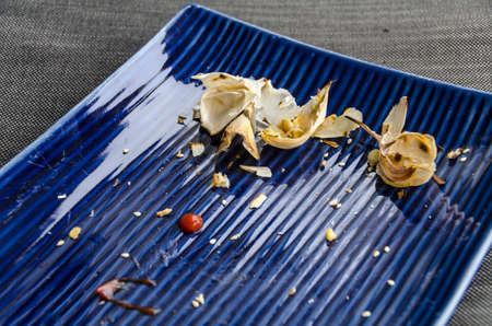leftovers: Used dinner plate with ketchup, garlic skins and crumbs Stock Photo