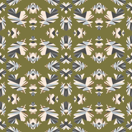 Vector seamless vintage floral pattern. Stylized silhouettes of flowers and berries on a beige background. White flowers.