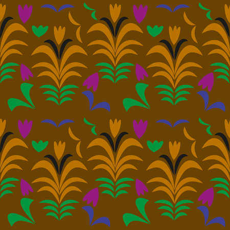 Vector floral ornamental seamless pattern in traditional Russian style Hohloma a brand of Russian traditional ornaments used for painting on wooden things spoons, dishes, etc