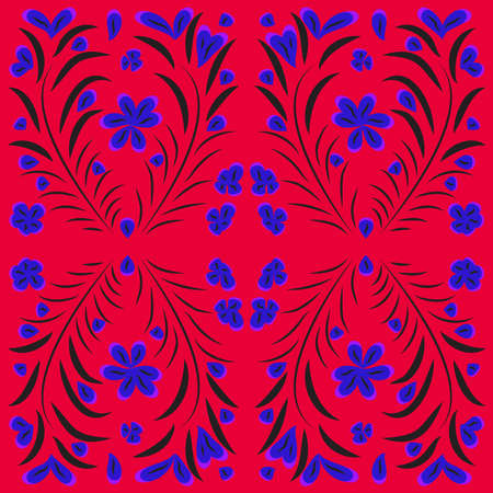 Bright vector seamless pattern of floral elements in Russian style.