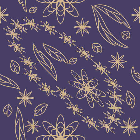 Linocut style hand drawn meadow flowers - seamless pattern. Wildflowers in modern cutout style isolated on background, vector illustration for textile, wallpaper.