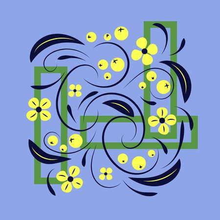 Folk flowers floral art print Flowers abstract art Illustration