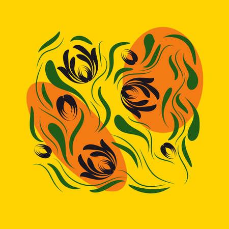 Folk flowers floral art print Flowers abstract art e