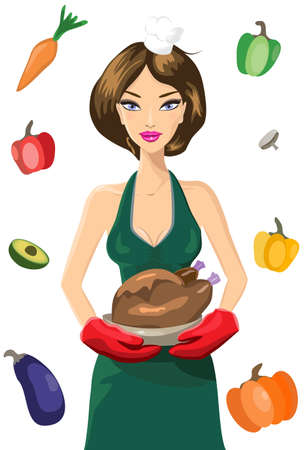 baking dish: Vector illustration of Attractive female chef in green dress and red oven mittens holding a roasted turkey (chicken) with gravy sauce in a baking dish surrounded by a set of vegetables  Illustration