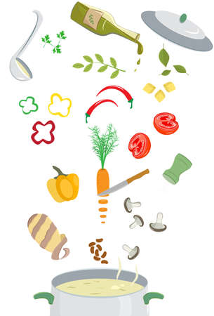 broth: Illustration of set of different vegetables and kitchen tools separated on clearwhite background.