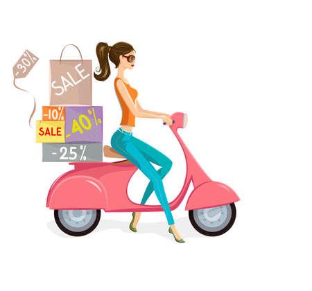 salidas de emergencia: Ilustración de moda joven conduciendo moto rosa cargado de bolsas y cajas con marcas de ventas y descuentos.