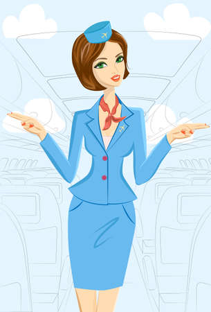 Cute cheerful female flight attendant in blue and red uniform gesturing emergency exits on the plane.