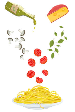 halved: illustration of pasta plate with halved tomatoes, sliced mushrooms, basil leaves, olive oil and cheese