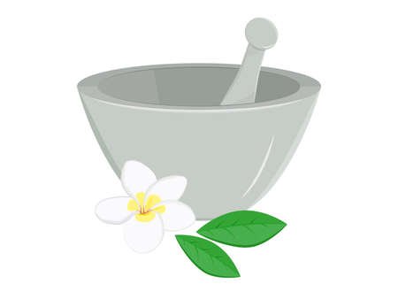 pestle: Illustration of mortar and pestle with frangipani flower and leaves.