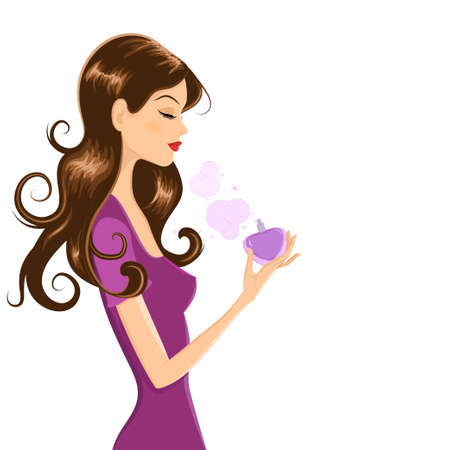 a charming: Vector illustration of attractive young woman with long dark hair and closed eyes. She is holding heart shaped perfume bottle while putting scent on herself. Illustration