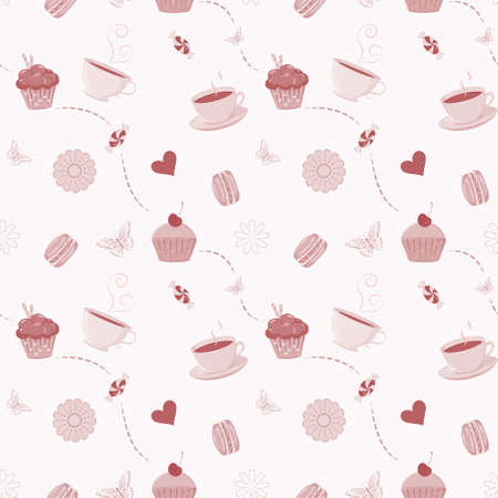 seamless pattern with hand drawn cupcakes, macaroons, candies and tea cups. Vector