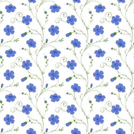 Elegant floral seamless background of flax plant with flowers and buds Illustration