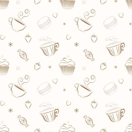 digital scrapbooking: Vector seamless pattern with hand drawn cupcakes, teacups, sweets, berries, hearts and flowers. Unique and elegant background for website, digital scrapbooking, wallpapers, textile and wrapping paper