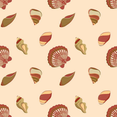 digital scrapbooking: Vector seamless pattern with seashells. Naval background for website, packaging, digital scrapbooking, wallpapers, textile and wrapping paper. Illustration