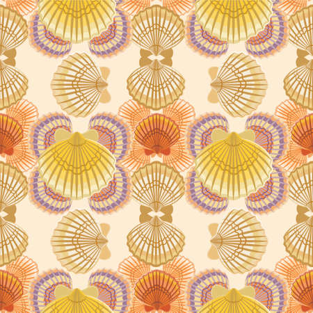 digital scrapbooking: Vector seamless pattern with colorful seashells. Marine background for website, packaging, digital scrapbooking, wallpapers, textile and wrapping paper.