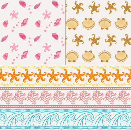 digital scrapbooking: Collection of tree marine vector borders and two seamless patterns in naval theme. Naval seamless background and border for website, packaging, digital scrapbooking, wallpapers, textile and wrapping paper.