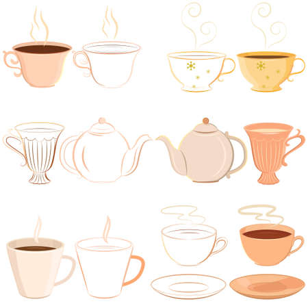 Vector collection of hand drawn teacups, saucer and teapot. Outlined and colored variations. Separate cups could be used as icons or in logos.