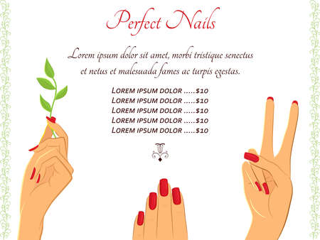 Flyer template for beauty, manicure salon. Elegant female hands in different gestures. Can be used for beauty salon advertisement, brochures, website design, or pricelist template. EPS8 with jumbo jpg preview 6249x6249px
