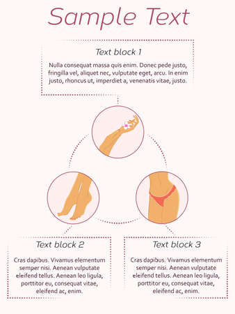 waxing: Vector poster template for beauty salon services. Can be used for spa and beauty salon advertisement, brochures, website design, infographic.