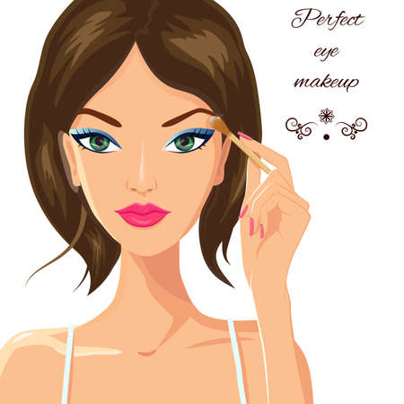 eyeshadow: Attractive female applying makeup, eyeshadow on her eyes. Beauty, fashion and make up concept. Young woman with beautiful green eyes and elegant manicured hand holding eyeshadow brush. Vector. Illustration