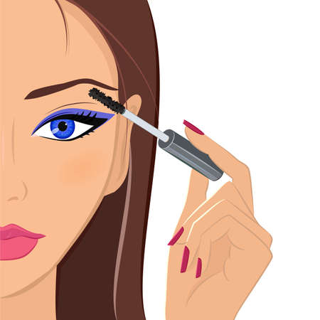 applying: Attractive brunette female applying makeup, mascara on her eyelashes. Beauty, fashion and make up concept. Young dark-haired woman with beautiful blue eyes and elegant manicured hand holding mascara brush. Vector.