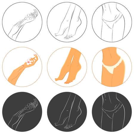 pedicura: Manicura, pedicura y cuidado corporal vector conjunto de iconos. Paquete de 9 iconos en diferentes estilos. Efectos: Máscara de recorte. Archivo EPS8, 6249x6249px vista previa. Vectores