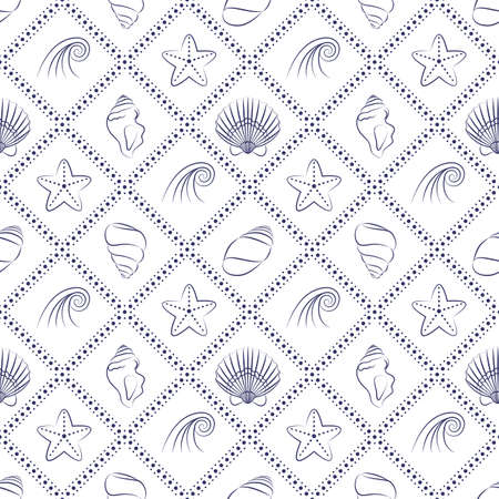 digital scrapbooking: Vector seamless pattern with seashells, starfish and waves outlines. Marine background for website, packaging, digital scrapbooking, wallpapers, textile and wrapping paper. Graphic minimalism