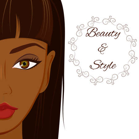 young woman face: Portrait of beautiful woman with dark brown skin, stright hair and natural make up. Make up, hair and skin care concept for dark skin. African and Latino American woman.
