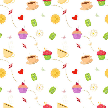Colorful vector seamless pattern with hand drawn cupcakes, macaroons, candies and tea cups. Unique and elegant background for digital scrapbooking, website wallpapers, textile and wrapping paper with dessert as main theme. Kitchen themed pattern. All elem Vector