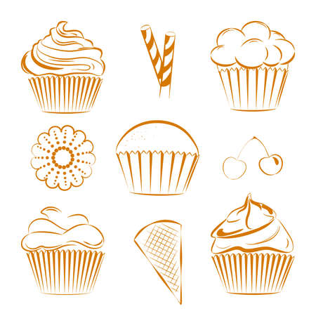 toppings: Vector set of hand drawn cupcakes with different toppings, cherries, cookie, waffle sticks. Unique set for digital scrapbook projects, website wallpapers and wrapping paper with dessert as main theme