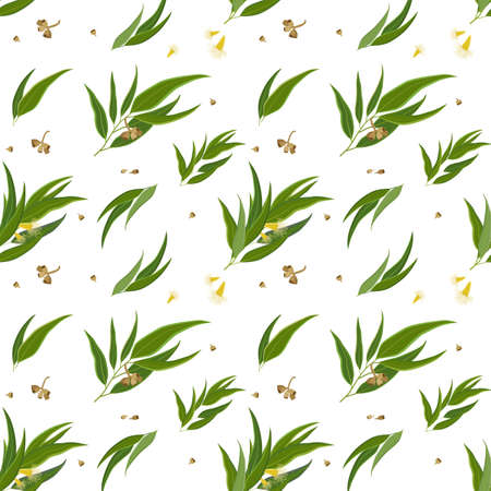 Seamless pattern with eucalyptus pods, flowers and leaves. Elegant background for website, packaging, digital scrapbooking, wallpapers, textile and wrapping paper