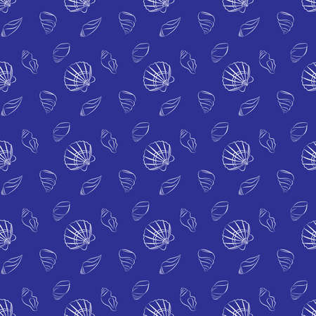 naval: Vector seamless pattern with seashells. Naval background for website, packaging, digital scrapbooking, wallpapers, textile and wrapping paper. Illustration