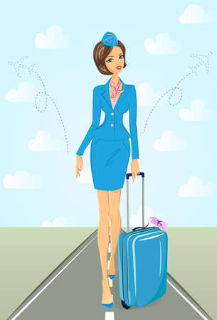 air hostess: Illustration of attractive flight attendant in blue uniform walking down the runway. She is holding a blue suitcase with flight label attached, schematic planes are taking off on her sides. Travel and air service concept.