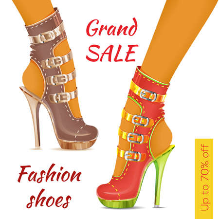 Pair of women's fashion shoes, sandals on heel and platform. Trandy shoes. Sale leaflet, banner. Vector.